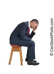 déprimé, isolé, assis, fond, homme affaires, blanc