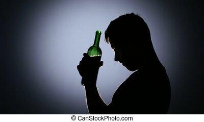 déprimé, light., dos, haut fin, boire, vin., homme