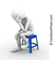 déprimé, personne, 3d, illustration, triste