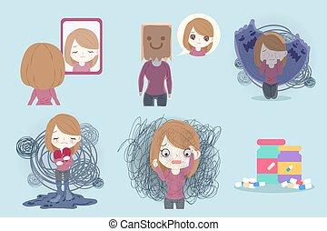 déprimé, problème, femme
