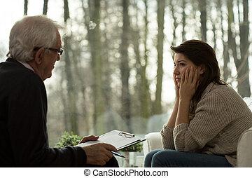 déprimé, psychothérapeute, femme parler