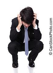 déprimé, regarder, travail, homme affaires