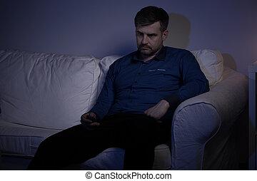 déprimé, sofa, homme