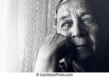 déprimé, vieux, femme triste