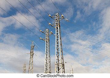 dérivation, quelques-uns, élevé, sub-station, tension, pylônes