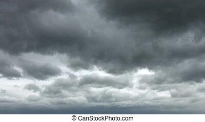 dérive, inquiétant, travers, ciel, lentement, nuages gris