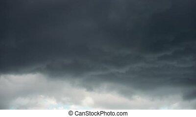 dériver, ardoise, couche, nuages ciel gris