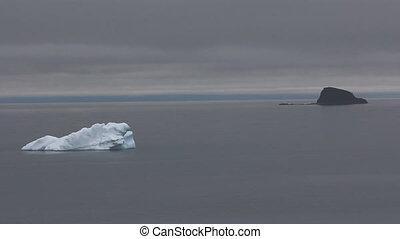dériver, eaux, océan, icebergs, noir, blanc, arctique