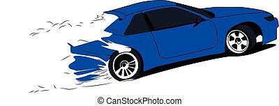 dériver, vecteur, voiture, bleu, illustration