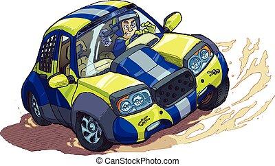 dériver, voiture, dessin animé, rotation, vecteur, rassemblement, ou, dehors