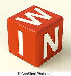 dés, gagner, rouges, représenter, triomphe, victoire