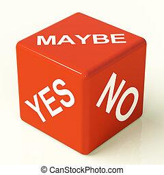 dés, non, représenter, peut-être, incertitude, oui, décisions, rouges