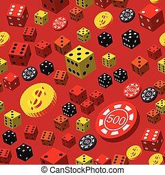 dés poker, modèle, pièces, seamless, chips