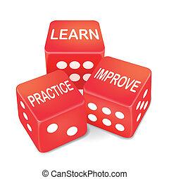 dés, pratique, trois, mots, apprendre, rouges, améliorer