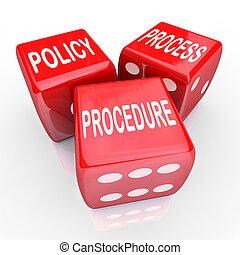 dés, processus, compagnie, règles, 3, pratiques, rouges, politique, procédure