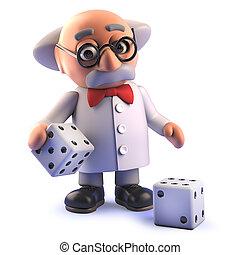 dés, prof, caractère, dessin animé, scientifique, fou, jouer, 3d