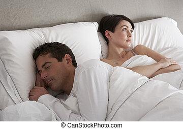 désaccord, couple, problèmes, avoir, lit