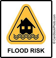 désastre, maison, -, isolé, signe jaune, inondation, fond, vagues, blanc