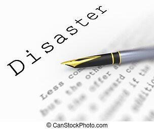 désastre, mot, spectacles, catastrophe, urgence, ou, crise