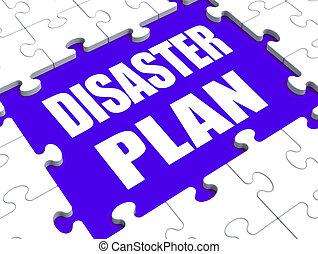 désastre, urgence, danger, puzzle, protection, plan, crise, ...