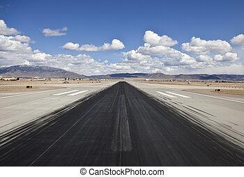 désert, aéroport, jet, piste, dérapage, marques