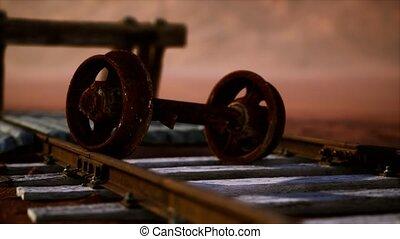 désert, abandonnés, pistes, ferroviaire
