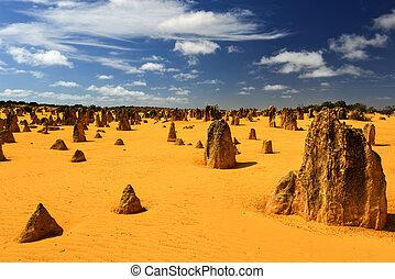 désert, australie, pinacles