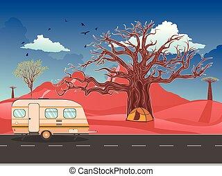 désert, caravane, route, camping