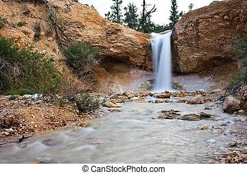 désert, chute eau