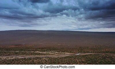 désert, dunes, nuages, orage, sable, coucher soleil