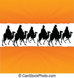 désert, illustration, chameau