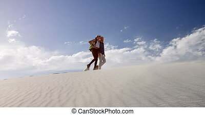 désert, marche, couple, 4k