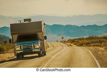 désert mojave, camping car, voyage