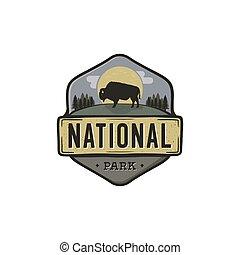 désert, national, extérieur, conception, logo, montagne, camping, vendange, voyage, randonnée, hipster, forêt, bison., insignia., backpack., badge., explorateur, parc, aventure, label., emblem., vecteur, stockage