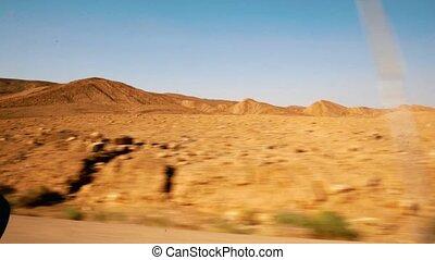 désert, negev, israël, coups, conduire
