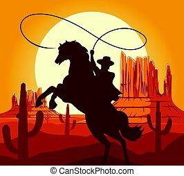 désert ouest, silhouette, cowboys