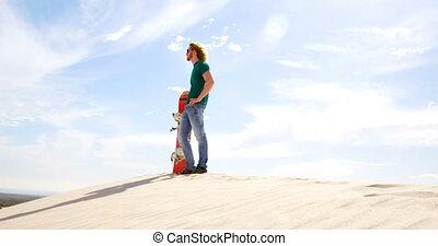 désert, planche, distance, regarder, homme, 4k, sable