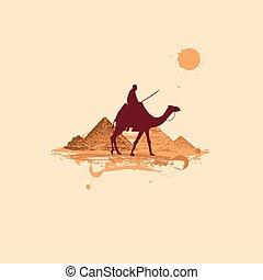 désert, pyramide, voyager