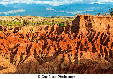 désert, rouges, collines