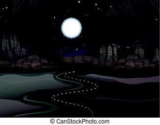 désert, terre, scène, route, nuit