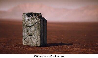 désert, vieux, boîte métallique, rouillé, carburant