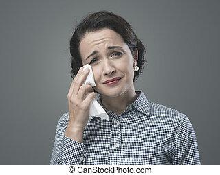 désespéré, femme, 1950s, pleurer