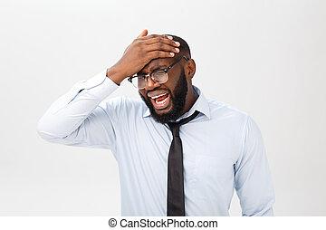 désespéré, quoique, cheveux, humain, colère, portrait, dehors, négatif, émotions, noir, sien, expressions, fou, déchirure, crier, mâle, rage, figure, something., feelings., furieux, sentiment, ennuyé