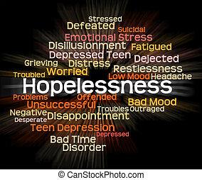 désespoir, désespoir, mot, spectacles, démoralisé