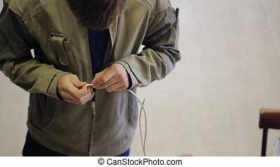 désignation, porte, phasing, blanc dehors, wire., homme