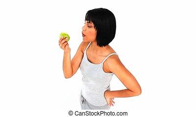 désinvolte, apprécier, femme, pomme, asiatique