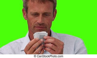 désinvolte, homme, jouer cartes