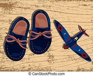 désinvolte, jouet, chaussures, avion, garçon