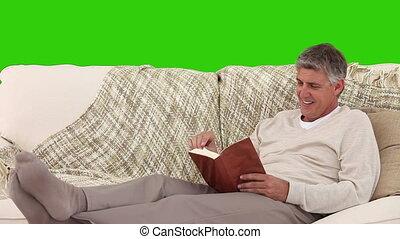 désinvolte, livre lecture, homme, retiré