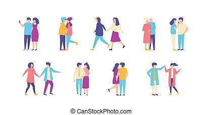 désinvolte, marche, gens, vecteur, ensemble, illustration, isolated., ensemble, hommes, couples, femmes